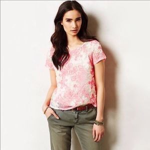 Anthropologie Meadow Rue Embroidered Mesh Top